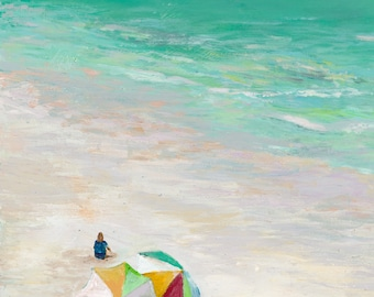 Day at the Beach Print 8.5x11 signed print in 11x14 mat
