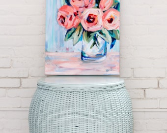 """Bright Blooms, 8.5""""x 11"""" Signed Large Print of Original Acrylic Painting in a 11"""" x 14"""" mat"""