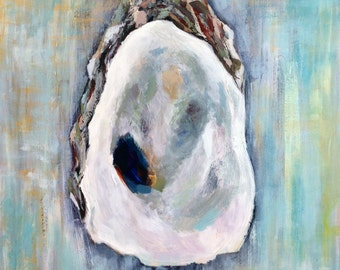 "Oyster on Aqua, 13""x 19"" Signed Large Print of Original Acrylic Painting"