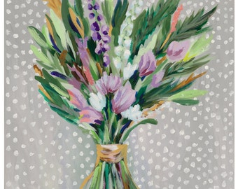 """Spring Blooms, 8.5""""x 11"""" Signed Large Print of Original Acrylic Painting in a 11"""" x 14"""" mat"""