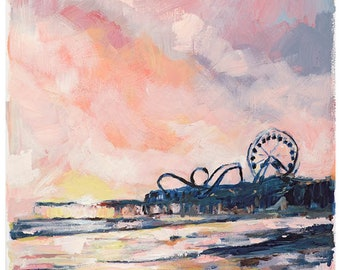 Ocean City, 8.5x11 Signed Large Print of Original Acrylic Painting in 11x14 mat
