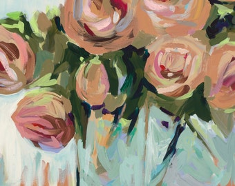 "Roses, 8.5""x 11"" Signed Large Print of Original Acrylic Painting in a 11"" x 14"" mat"