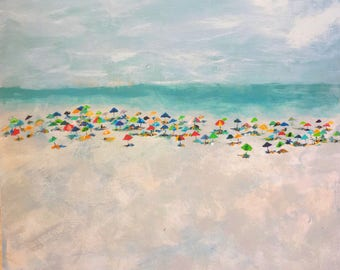 12x12 Busy Beach Day Signed Print