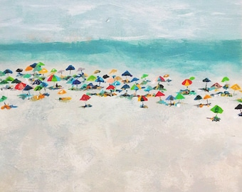 Busy Beach Day, 13x19 Signed Large Print of Original Acrylic Painting