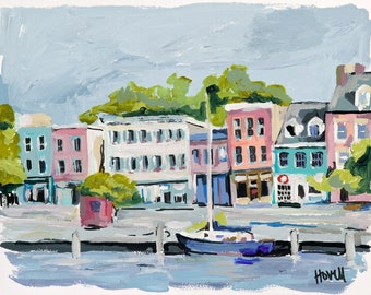Fells Point, 8.5 x 11 Signed Large Print of Original Acrylic Painting in 11 x 14 mat