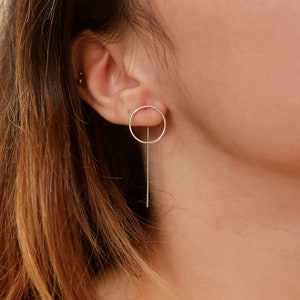 Minimalist Ear Jackets Hoops earrings Gold Filled Rose Gold Filled Sterling Silver Long Line and Karma  Circle Modern Earrings