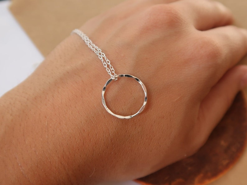 Silver Circle Necklace Minimalist Necklace Bridesmaid Gift Karma Necklace Simple Necklace Dainty Chain Necklace Ethical Jewelry