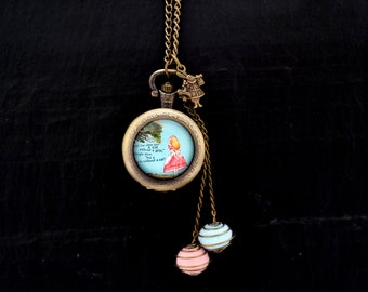 Alice in Wonderland & Cheshire Cat watch necklace, charm rabbit, beads tassels blue and pink in a cage on chain