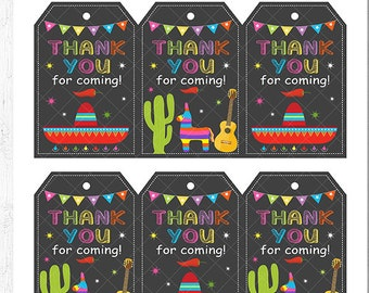 Mexican fiesta Thank You Tags, Mexican fiesta thank you note, Cinco de mayo, Mexican birthday, Mexican party, printable, INSTANT DOWNLOAD