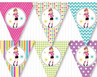 Soccer girl birthday Banners, Soccer birthday flags, bunting banners, printable, INSTANT DOWNLOAD