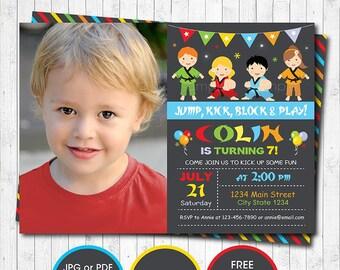 Karate Boys Birthday Invitation Custom Photo Digital Printable