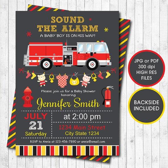 Strażacki Baby Shower Zaproszenia Cyfrowy Zaproszenie Do Etsy