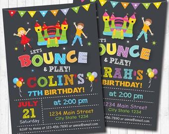 Bounce House Birthday Invitation, Jump Invite, Jump Invitation, Bounce House Invite, Castle Invite, Boy and Girl invite, Printable