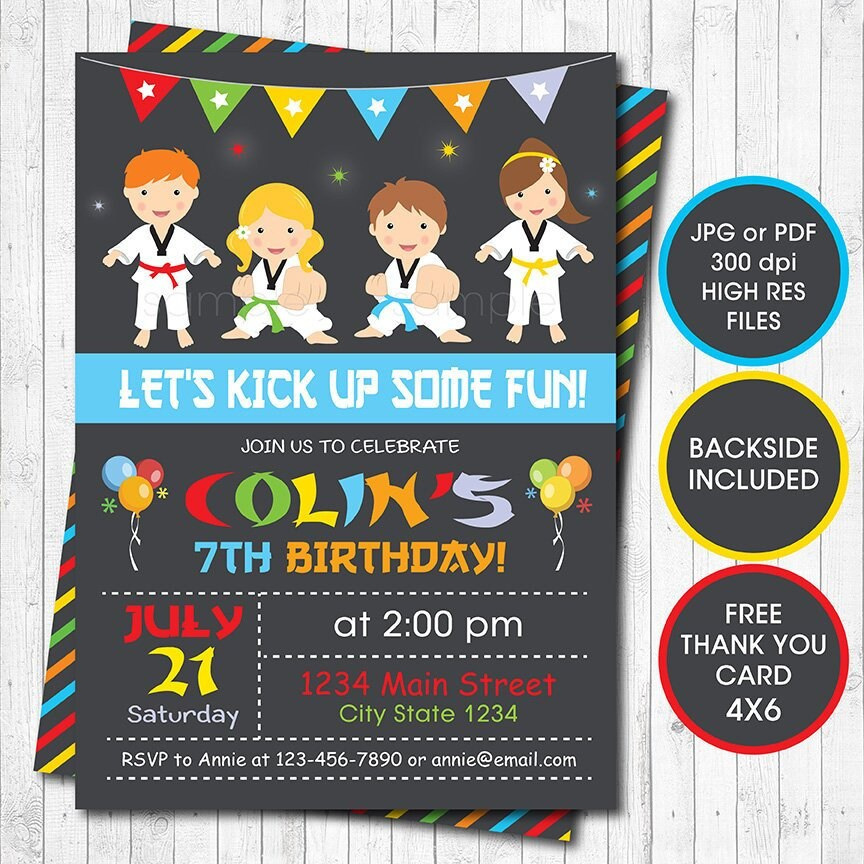 Taekwondo Boys Birthday Invitation Karate Digital