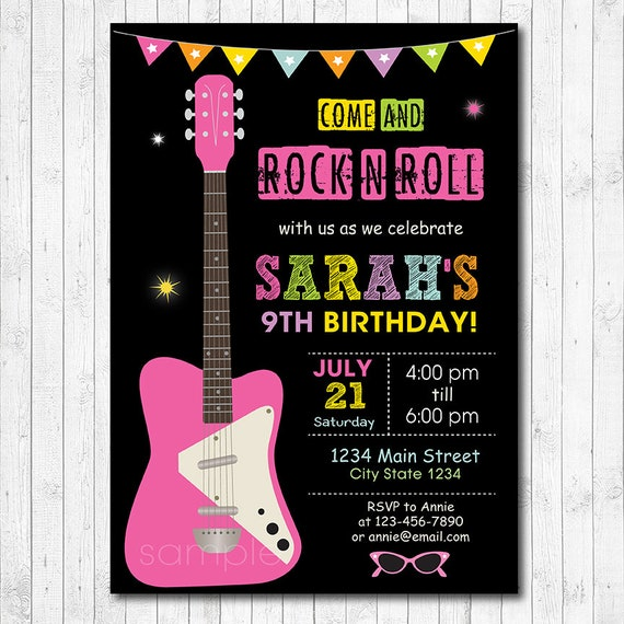 Guitar Girls Birthday Invitation Rock N Roll