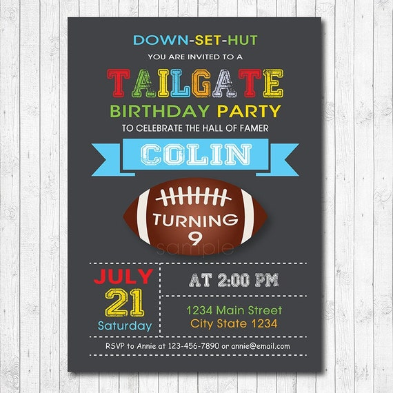 down set hut Football themed Birthday or Party Invitation Printable Football theme Digital Invitation Tailgate Party