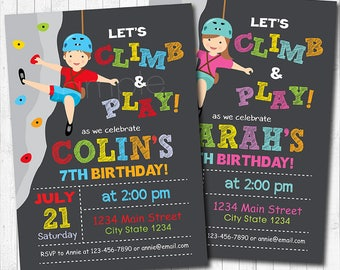 Rock Climbing Invitation Rock Climbing Birthday Invitation