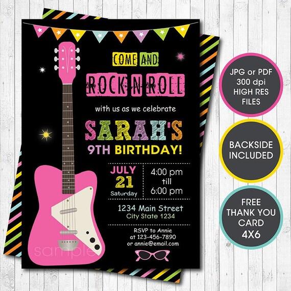 Gitarre Madchen Geburtstag Einladung Rock N Etsy