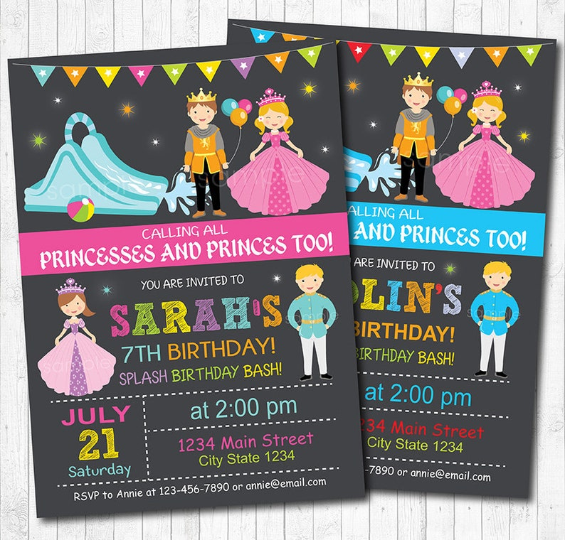 Princess and Prince Invitation, Water slide invitation, Royal party,  chalkboard, Royal Invitation, Prince Invitation, printable