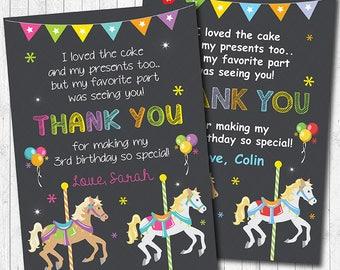 Carousel Thank you Card, Carousel thank you note, Carousel thank you tags, Carousel birthday, Boy, Girl, Carousel party, printable