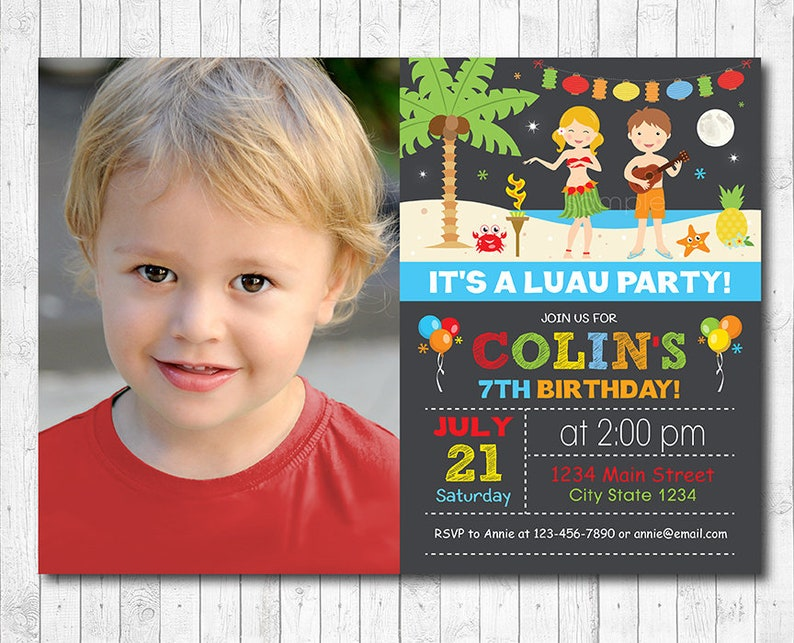 Luau Boys Birthday Invitation Custom Photo