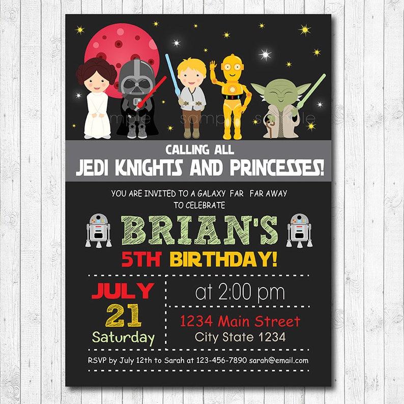 Star Wars Birthday Invitation Digital Printable