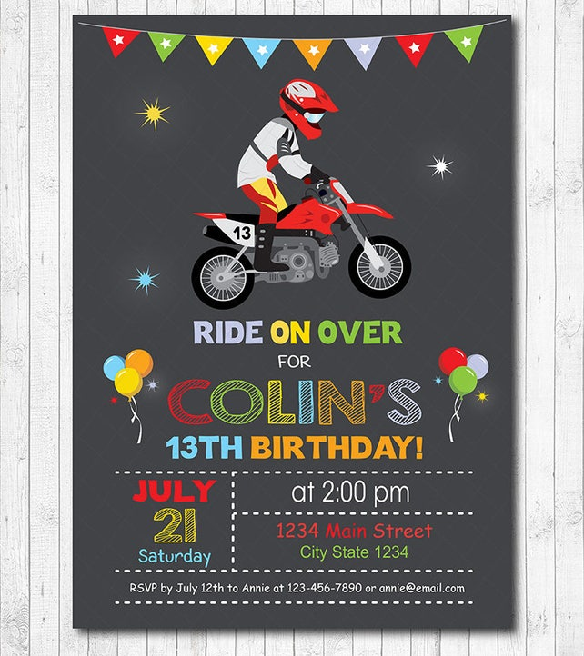 Motocross Birthday Invitation Invite Party Motorbike Dirt Bike Chalkboard Printable
