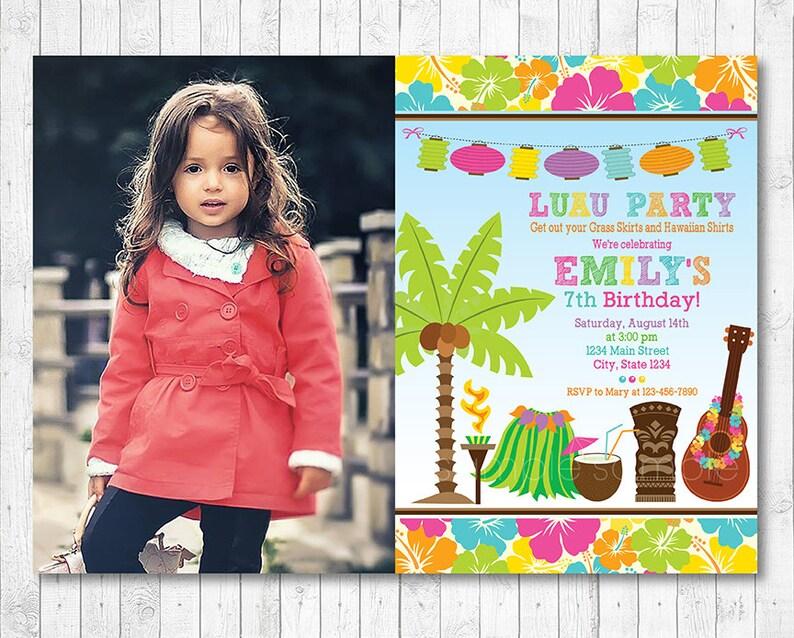 Tiki Luau Birthday Invitation Custom Photo