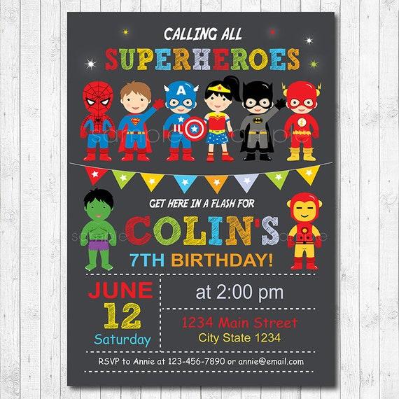 Superheroes Birthday Invitation Digital Printable