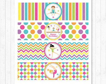 Little Tumblers Water Bottle Labels, Gymnastic Wrappers, Gymnastic Birthday, printable, INSTANT DOWNLOAD