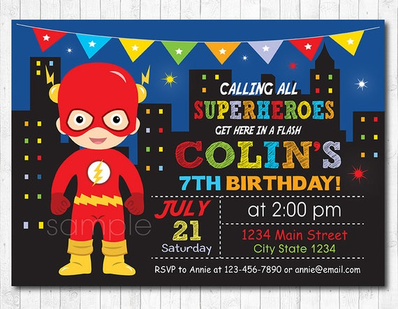 flash invitation superhero invitation flash birthday etsy