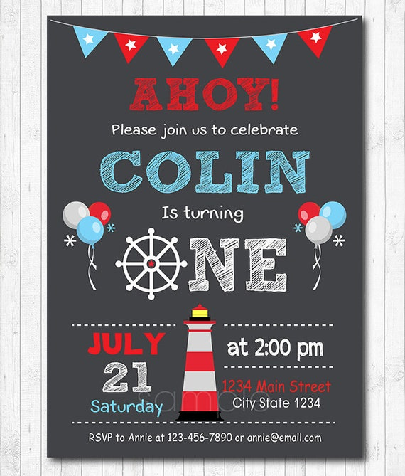 Nautical Birthday Invitation Sailor