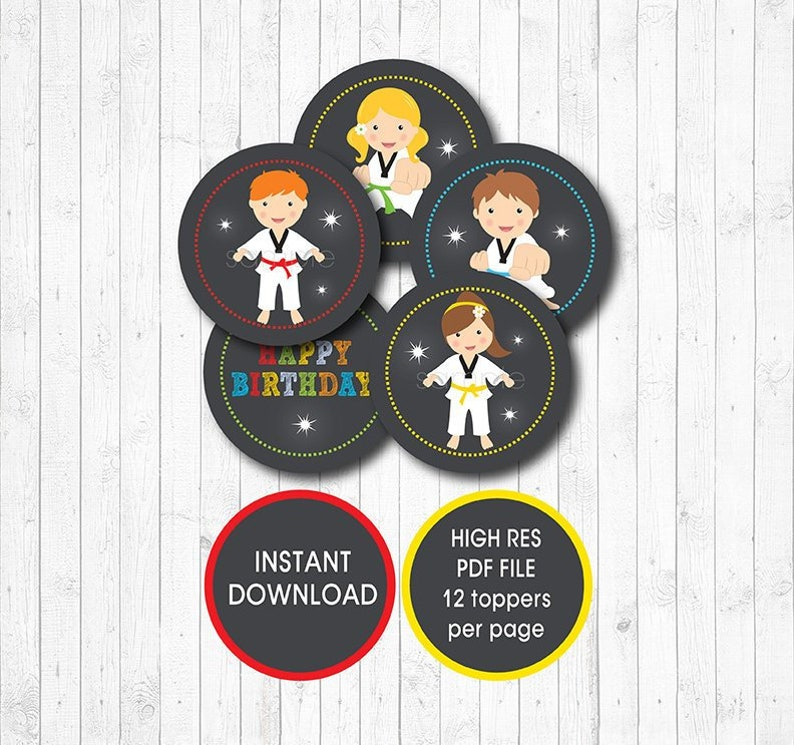 Taekwondo Cupcake Toppers Karate Stickers Instant Download