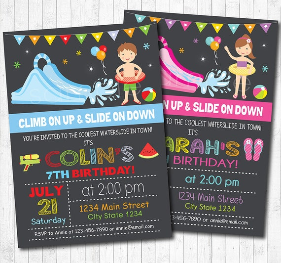 Water Slide Birthday Party Invitation Invite Pool Kids