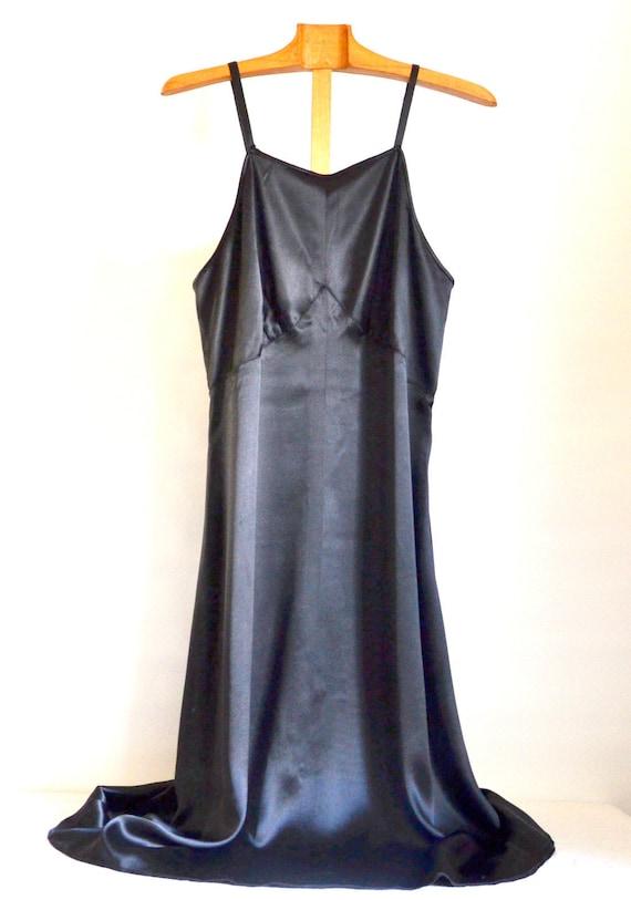 women's silk satin dress / lingerie / black/1950s