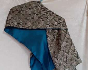 Damast silk stole with khaki green and gold flowers lined in turquoise silk