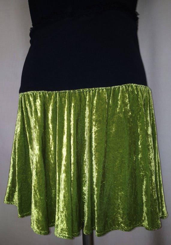 Black stretch skirt and ruched ruffled circle of green silk velvet asymmetric Absinthe