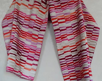 Eedole scarf in ecru linen and multicolored velvet upholstery lined in old pink satin