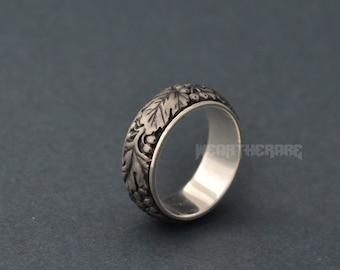 Sterling silver viburnum Ring Ukrainian National Symbol ring. Light version