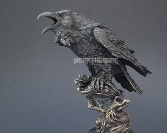Raven Bronze Sculpture,Huginn Muninn sculpture, Handmade Raven Figurine