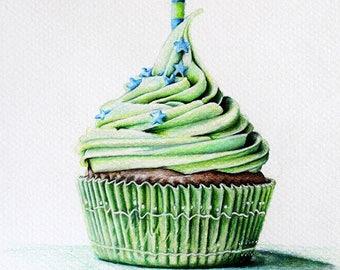 Original Colored Pencil Drawing, Colorful Art, Green Cupcake, Greenery Art 6x8