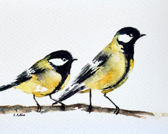 Original Watercolor Greeting Card, Watercolor Bird, Great Tit, Yellow Black Bird 4x6 inch