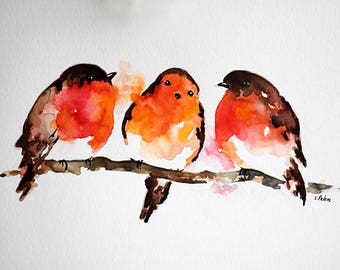 ORIGINAL Watercolor bird painting, Christmas Robins, Winter Art 6x8 inch