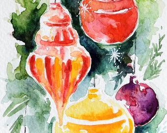 Original Watercolor Painting, Still Life Painting, Christmas Ornaments, Colorful Christmas Decorations 4x6 Inch