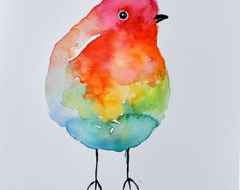 ORIGINAL Watercolor Bird Painting Rainbow Colored Whimsical Robin 6x8 inch