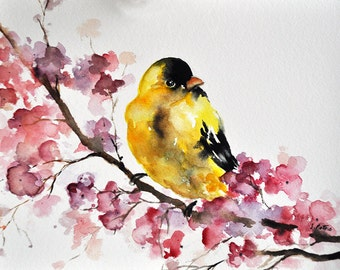 ORIGINAL Watercolor Painting, Goldfinch and Pink Flowers, Watercolor Bird Art 6x8 Inch,