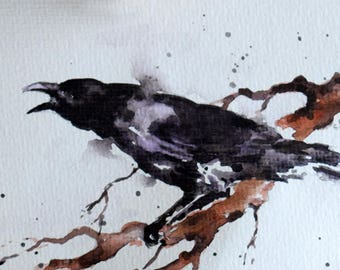 Original Watercolor Bird Painting, Black Raven, Handpainted Crow Card 4x6 inch