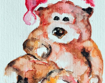 Original Watercolor Painting, Still Life Painting, Christmas Painting, Teddy Bear Toy 4x6 Inch