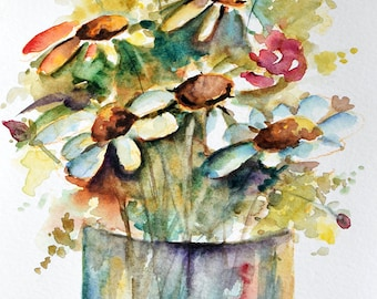 Original Watercolor Painting, Wild Flowers In a Vase, White Daisies, Colorful Floral Art 6x8 Inch
