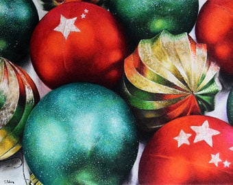 Original Colored Pencil Drawing Still Life Art Christmas Ball Ornament Realistic Colored Pencil Art 8x11 inch